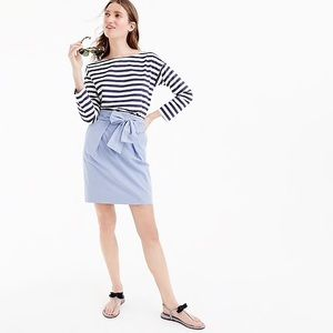 J. Crew Blue and White Striped Tie Mini Skirt